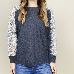 J. Crew Gray Wool Sweater White Lace Sleeve